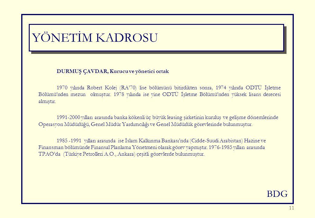 BDG 11 DURMUŞ ÇAVDAR, Kurucu ve yönetici ortak 1970 yılında Robert Kolej (RA'70) lise bölümünü bitirdikten sonra, 1974 yılında ODTÜ İşletme Bölümü'nden mezun olmuştur.