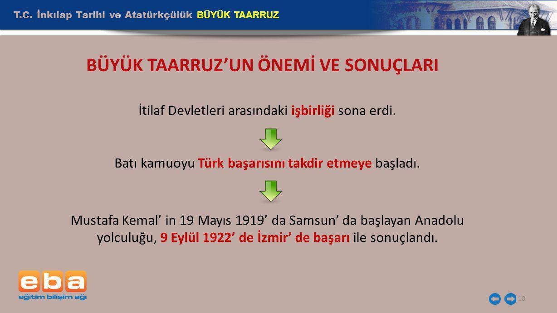 T.C. İnkılap Tarihi ve Atatürkçülük BÜYÜK TAARRUZ 10 İtilaf Devletleri arasındaki işbirliği sona erdi. Batı kamuoyu Türk başarısını takdir etmeye başl