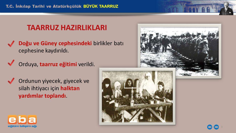 T.C. İnkılap Tarihi ve Atatürkçülük BÜYÜK TAARRUZ 3 TAARRUZ HAZIRLIKLARI Doğu ve Güney cephesindeki birlikler batı cephesine kaydırıldı. Orduya, taarr
