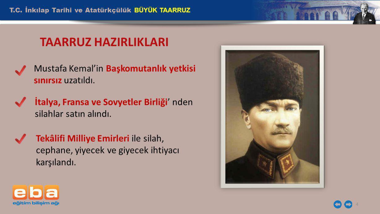 T.C. İnkılap Tarihi ve Atatürkçülük BÜYÜK TAARRUZ 4 Mustafa Kemal'in Başkomutanlık yetkisi sınırsız uzatıldı. İtalya, Fransa ve Sovyetler Birliği' nde