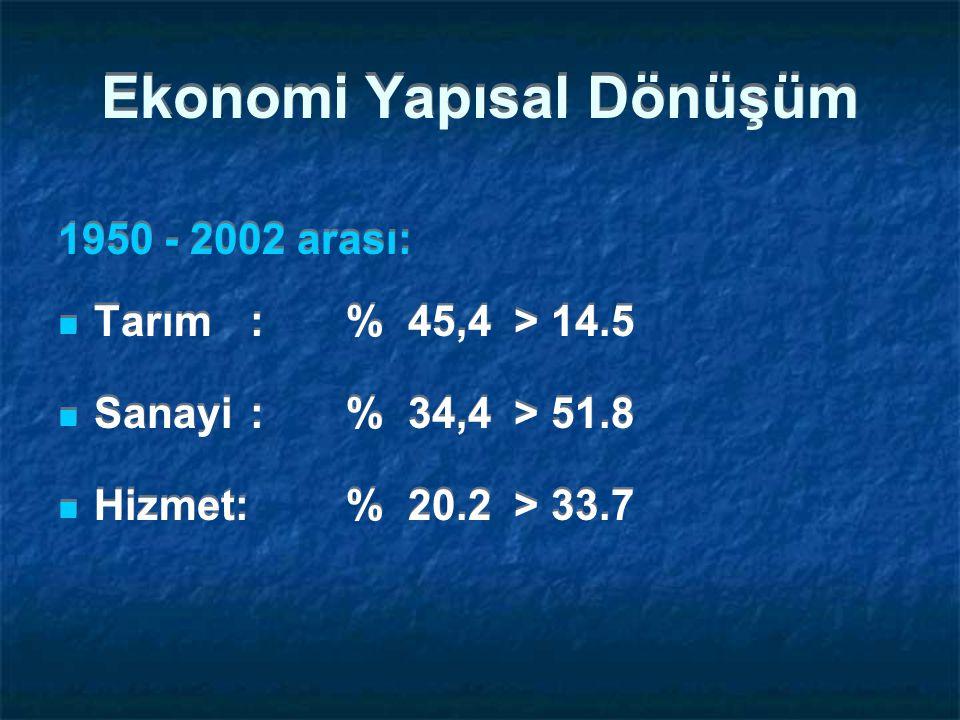 Ekonomi Yapısal Dönüşüm 1950 - 2002 arası: Tarım: % 45,4 > 14.5 Sanayi: % 34,4 > 51.8 Hizmet: % 20.2 > 33.7 1950 - 2002 arası: Tarım: % 45,4 > 14.5 Sanayi: % 34,4 > 51.8 Hizmet: % 20.2 > 33.7