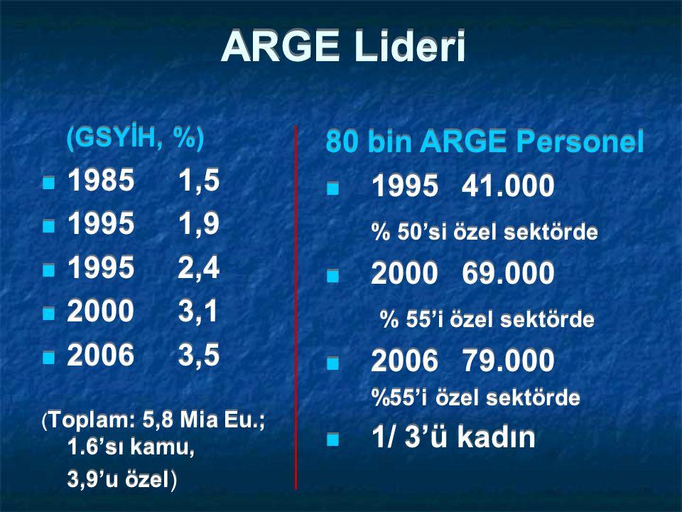 ARGE Lideri (GSYİH, %) 19851,5 19951,9 19952,4 20003,1 20063,5 ( Toplam: 5,8 Mia Eu.; 1.6'sı kamu, 3,9'u özel) (GSYİH, %) 19851,5 19951,9 19952,4 20003,1 20063,5 ( Toplam: 5,8 Mia Eu.; 1.6'sı kamu, 3,9'u özel) 80 bin ARGE Personel 199541.000 % 50'si özel sektörde 200069.000 % 55'i özel sektörde 200679.000 %55'i özel sektörde 1/ 3'ü kadın 80 bin ARGE Personel 199541.000 % 50'si özel sektörde 200069.000 % 55'i özel sektörde 200679.000 %55'i özel sektörde 1/ 3'ü kadın