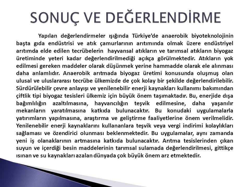 Yapılan değerlendirmeler ışığında Türkiye'de anaerobik biyoteknolojinin başta gıda endüstrisi ve atık çamurlarının arıtımında olmak üzere endüstriyel