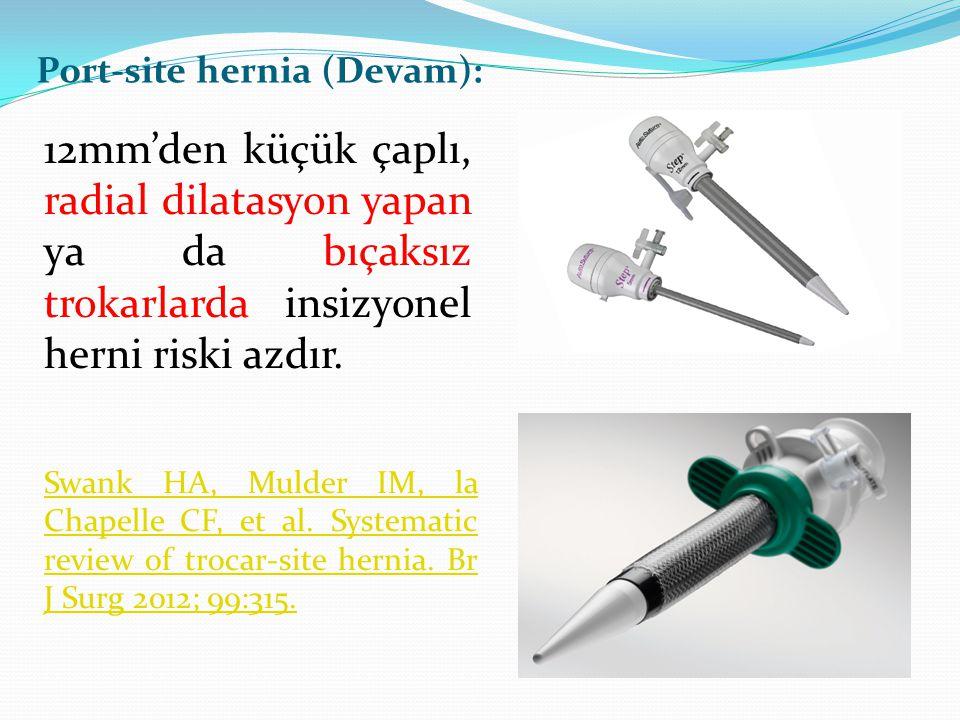 12mm'den küçük çaplı, radial dilatasyon yapan ya da bıçaksız trokarlarda insizyonel herni riski azdır. Port-site hernia (Devam): Swank HA, Mulder IM,