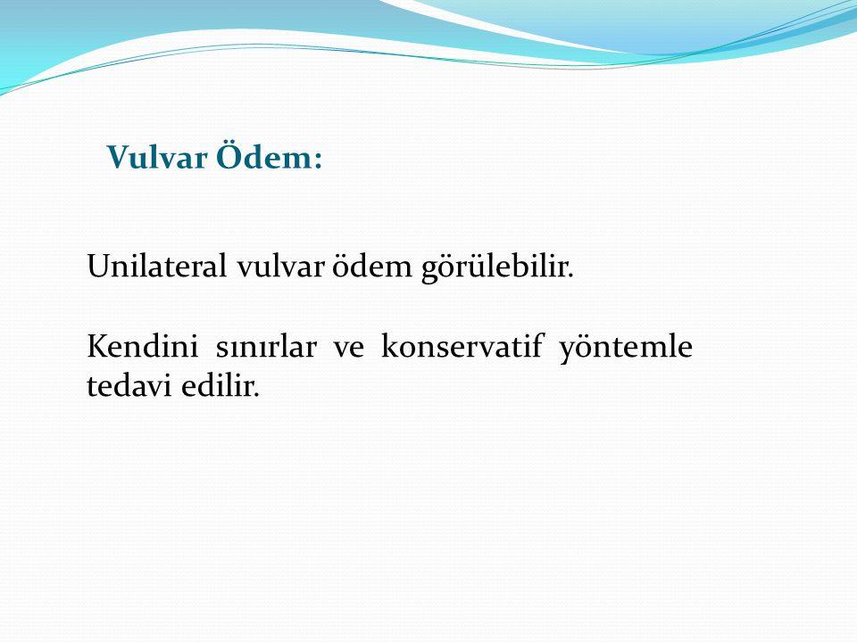 Vulvar Ödem: Unilateral vulvar ödem görülebilir. Kendini sınırlar ve konservatif yöntemle tedavi edilir.