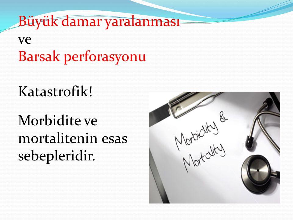 Büyük damar yaralanması ve Barsak perforasyonu Katastrofik! Morbidite ve mortalitenin esas sebepleridir.