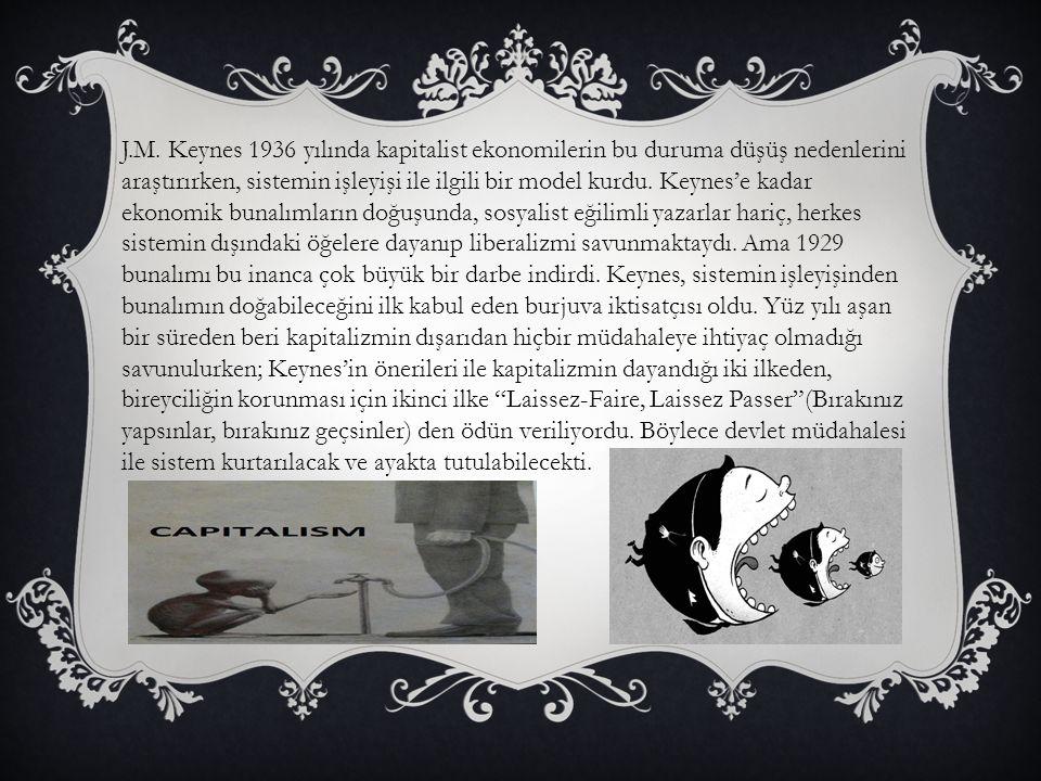 J.M. Keynes 1936 yılında kapitalist ekonomilerin bu duruma düşüş nedenlerini araştırırken, sistemin işleyişi ile ilgili bir model kurdu. Keynes'e kada