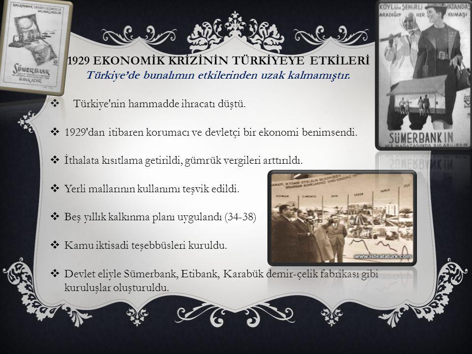 1929 EKONOMİK KRİZİNİN TÜRKİYEYE ETKİLERİ Türkiye'de bunalımın etkilerinden uzak kalmamıştır.  Türkiye'nin hammadde ihracatı düştü.  1929'dan itibar