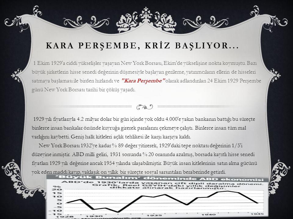 1929 EKONOMİK KRİZİNİN TÜRKİYEYE ETKİLERİ Türkiye'de bunalımın etkilerinden uzak kalmamıştır.