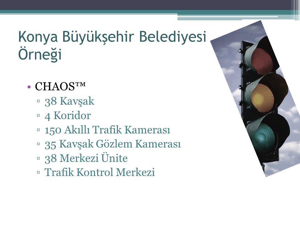 Konya Büyükşehir Belediyesi Örneği CHAOS™ ▫38 Kavşak ▫4 Koridor ▫150 Akıllı Trafik Kamerası ▫35 Kavşak Gözlem Kamerası ▫38 Merkezi Ünite ▫Trafik Kontr