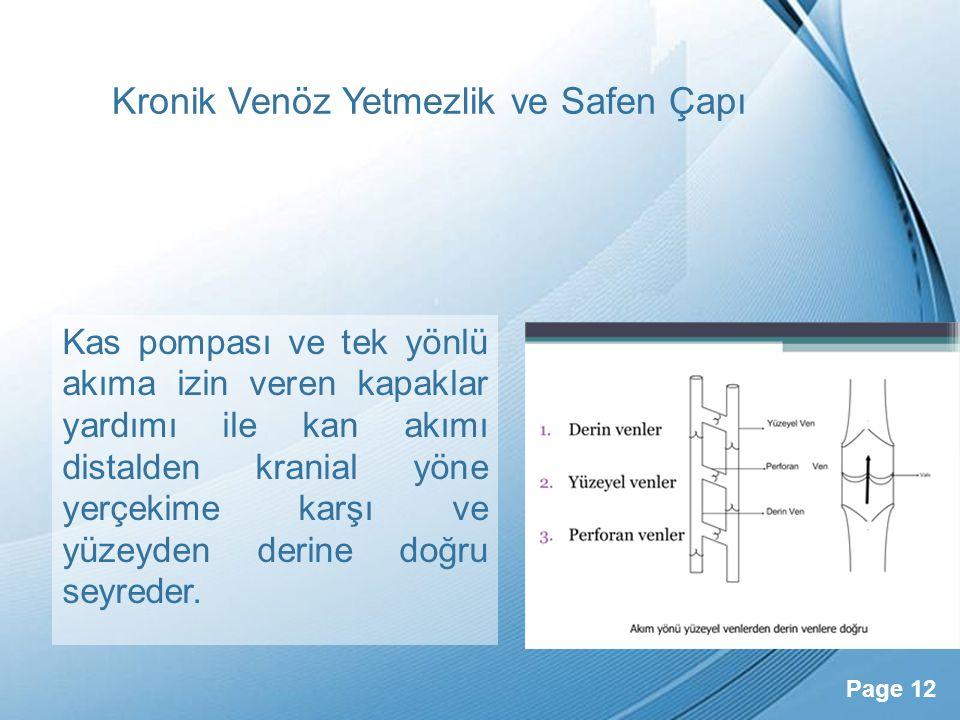 Powerpoint Templates Page 12 Kronik Venöz Yetmezlik ve Safen Çapı Kas pompası ve tek yönlü akıma izin veren kapaklar yardımı ile kan akımı distalden k