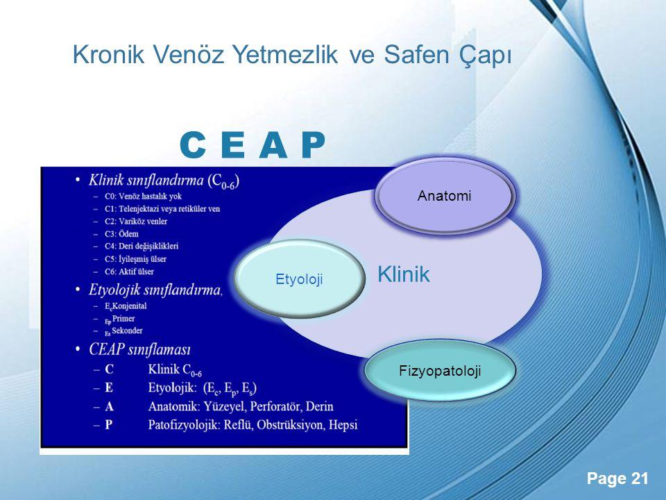 Powerpoint Templates Page 21 Kronik Venöz Yetmezlik ve Safen Çapı Klinik Etyoloji Anatomi Fizyopatoloji C E A P