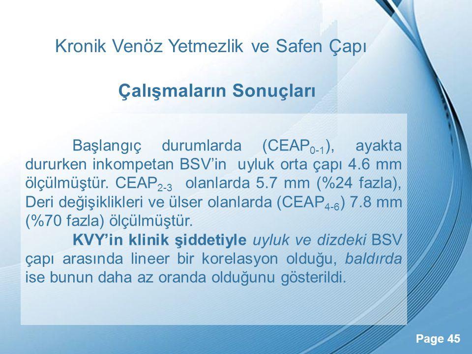 Powerpoint Templates Page 45 Kronik Venöz Yetmezlik ve Safen Çapı Başlangıç durumlarda (CEAP 0-1 ), ayakta dururken inkompetan BSV'in uyluk orta çapı