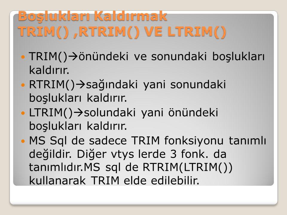 Boşlukları Kaldırmak TRIM(),RTRIM() VE LTRIM() TRIM()  önündeki ve sonundaki boşlukları kaldırır. RTRIM()  sağındaki yani sonundaki boşlukları kaldı