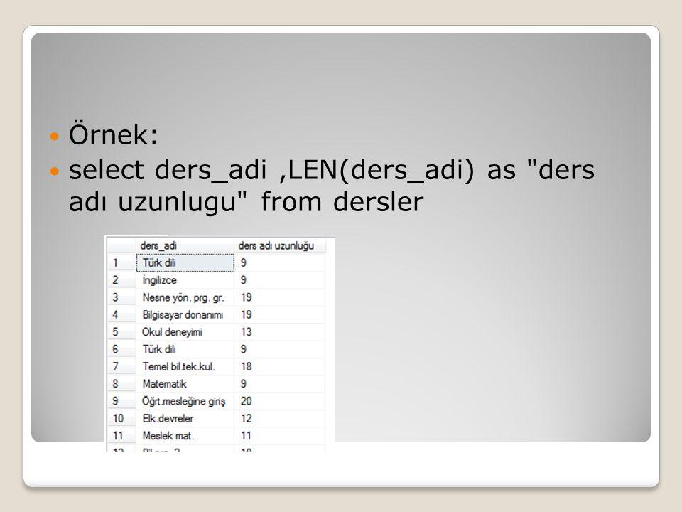 Örnek: select ders_adi,LEN(ders_adi) as