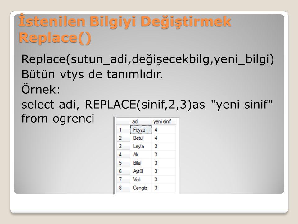 İstenilen Bilgiyi Değiştirmek Replace() Replace(sutun_adi,değişecekbilg,yeni_bilgi) Bütün vtys de tanımlıdır. Örnek: select adi, REPLACE(sinif,2,3)as