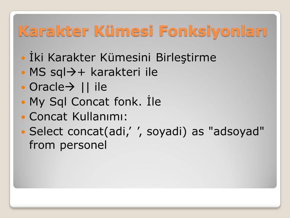 Karakter Kümesi Fonksiyonları İki Karakter Kümesini Birleştirme MS sql  + karakteri ile Oracle  || ile My Sql Concat fonk. İle Concat Kullanımı: Sel