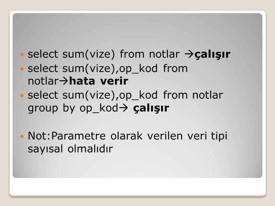 select sum(vize) from notlar  çalışır select sum(vize),op_kod from notlar  hata verir select sum(vize),op_kod from notlar group by op_kod  çalışır