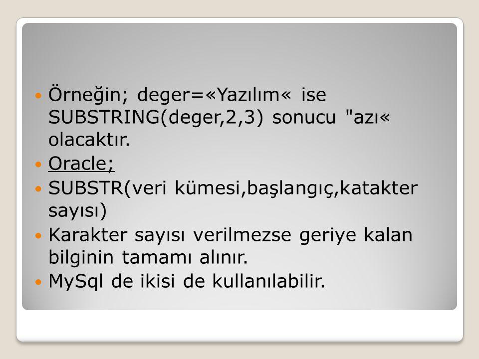 Örneğin; deger=«Yazılım« ise SUBSTRING(deger,2,3) sonucu