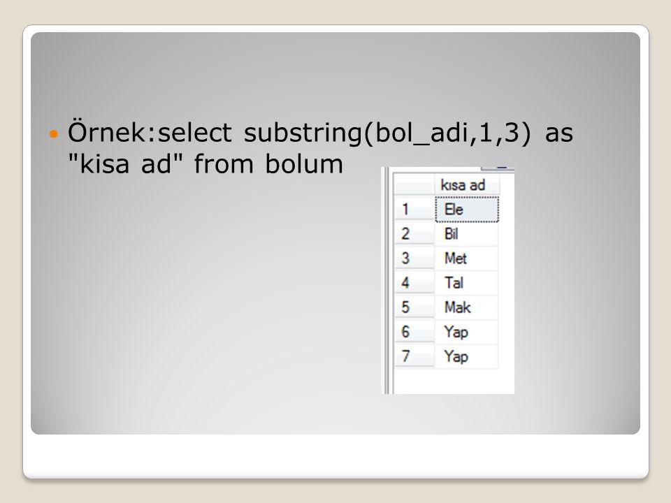 Örnek:select substring(bol_adi,1,3) as