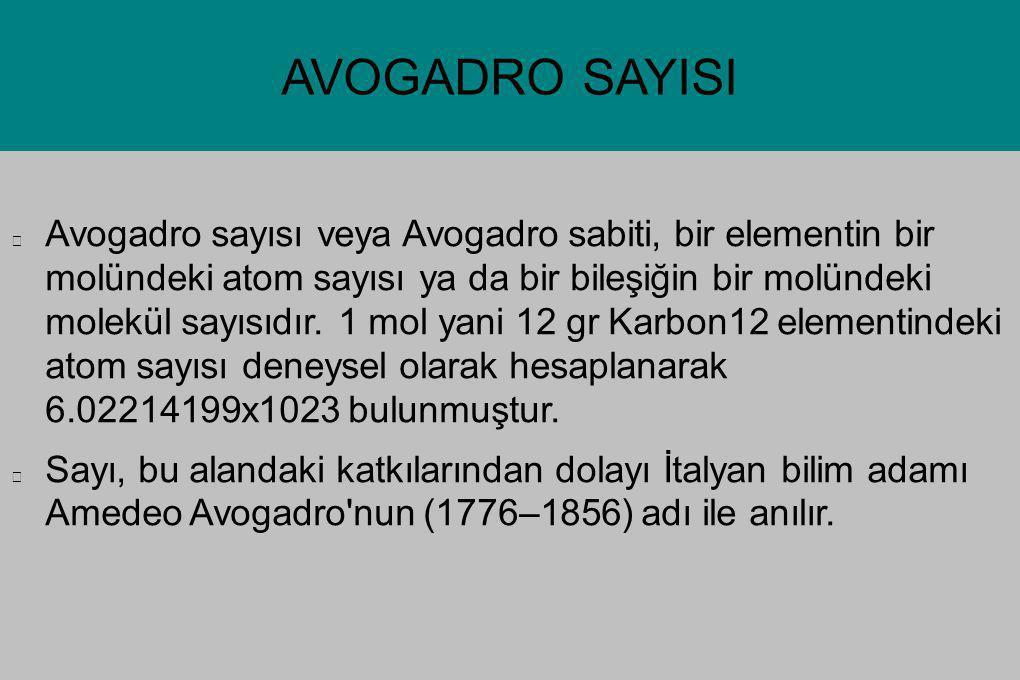 AVOGADRO SAYISI Avogadro sayısı veya Avogadro sabiti, bir elementin bir molündeki atom sayısı ya da bir bileşiğin bir molündeki molekül sayısıdır. 1 m