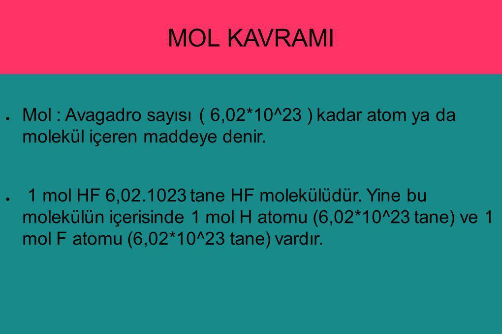 MOL KAVRAMI ● Mol : Avagadro sayısı ( 6,02*10^23 ) kadar atom ya da molekül içeren maddeye denir. ● 1 mol HF 6,02.1023 tane HF molekülüdür. Yine bu mo