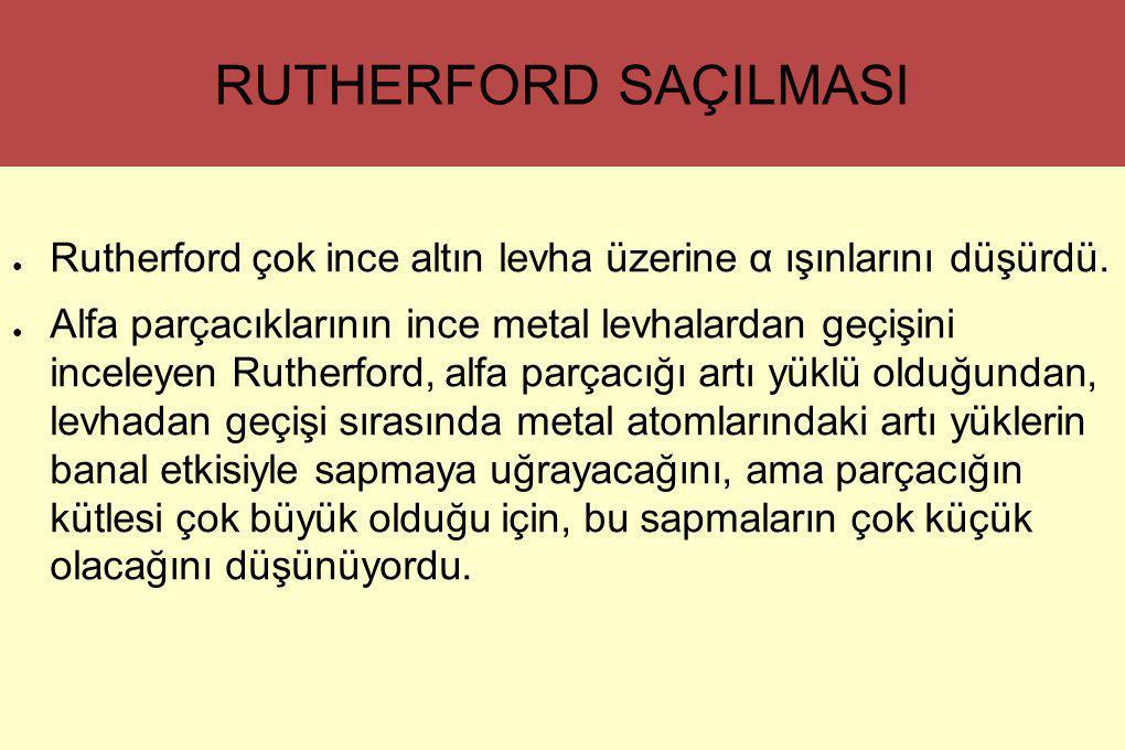 RUTHERFORD SAÇILMASI ● Rutherford çok ince altın levha üzerine α ışınlarını düşürdü. ● Alfa parçacıklarının ince metal levhalardan geçişini inceleyen