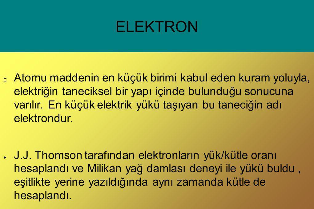 ELEKTRON Atomu maddenin en küçük birimi kabul eden kuram yoluyla, elektriğin taneciksel bir yapı içinde bulunduğu sonucuna varılır. En küçük elektrik