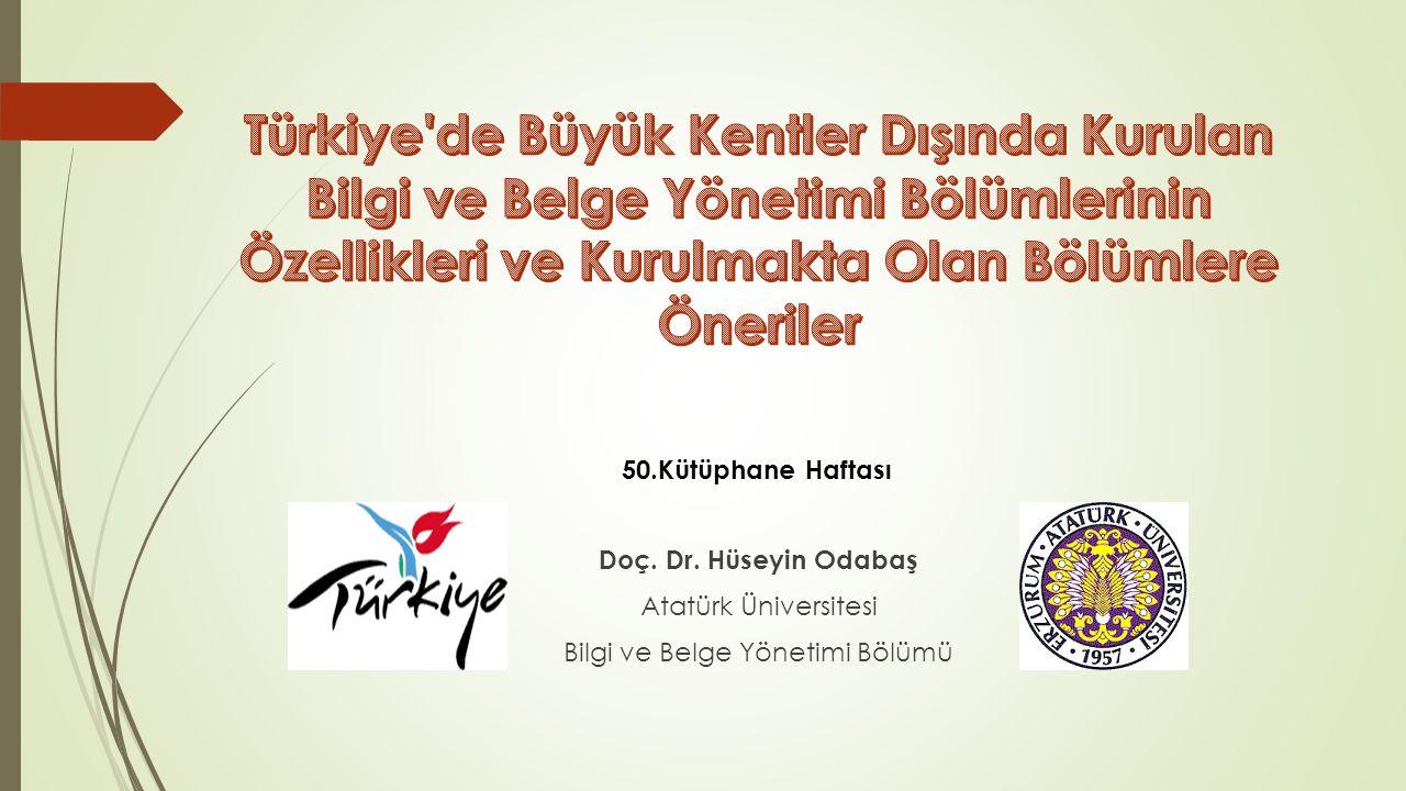 1.Giriş 2.Türkiye'de Bilgi ve Belge Yönetimi Eğitimi 3.Atatürk Üniversitesi Bilgi ve Belge Yönetimi Bölümü a.Genel Olanaklar b.Akademik Olanaklar 4.Bulgular ve Değerlendirmeler 5.Sonuç ve Öneriler Sunum Planı