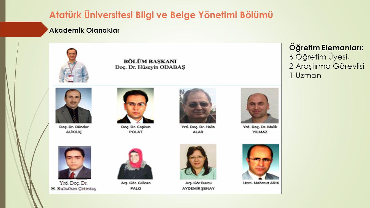 Atatürk Üniversitesi Bilgi ve Belge Yönetimi Bölümü Öğretim Elemanları: 6 Öğretim Üyesi, 2 Araştırma Görevlisi 1 Uzman Akademik Olanaklar