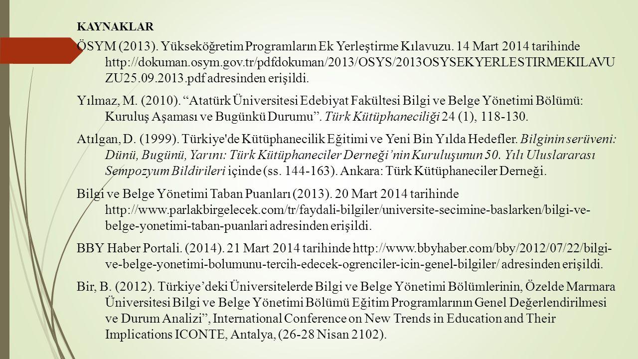 KAYNAKLAR ÖSYM (2013). Yükseköğretim Programların Ek Yerleştirme Kılavuzu. 14 Mart 2014 tarihinde http://dokuman.osym.gov.tr/pdfdokuman/2013/OSYS/2013