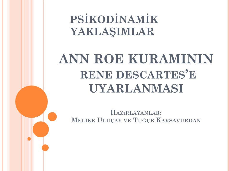 Bu sunuda 2013-2014 Güz yarıyılında RPDA 317 dersi kapsamında yapılan Descartes'in yaşamı; kariyer gelişimini etkileyen faktörler ve Psikodinamik Kuramlardan Ann Roe'nun kuramına göre incelenerek yorumlanması ödevi yer almaktadır.