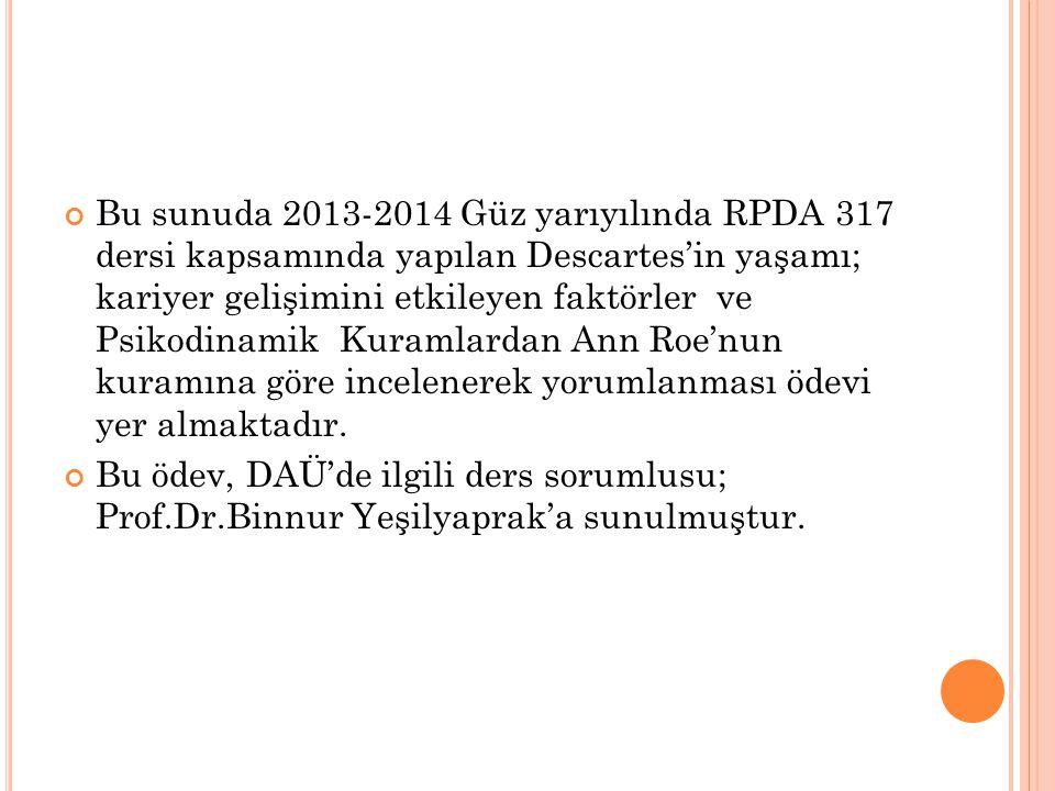 Bu sunuda 2013-2014 Güz yarıyılında RPDA 317 dersi kapsamında yapılan Descartes'in yaşamı; kariyer gelişimini etkileyen faktörler ve Psikodinamik Kura
