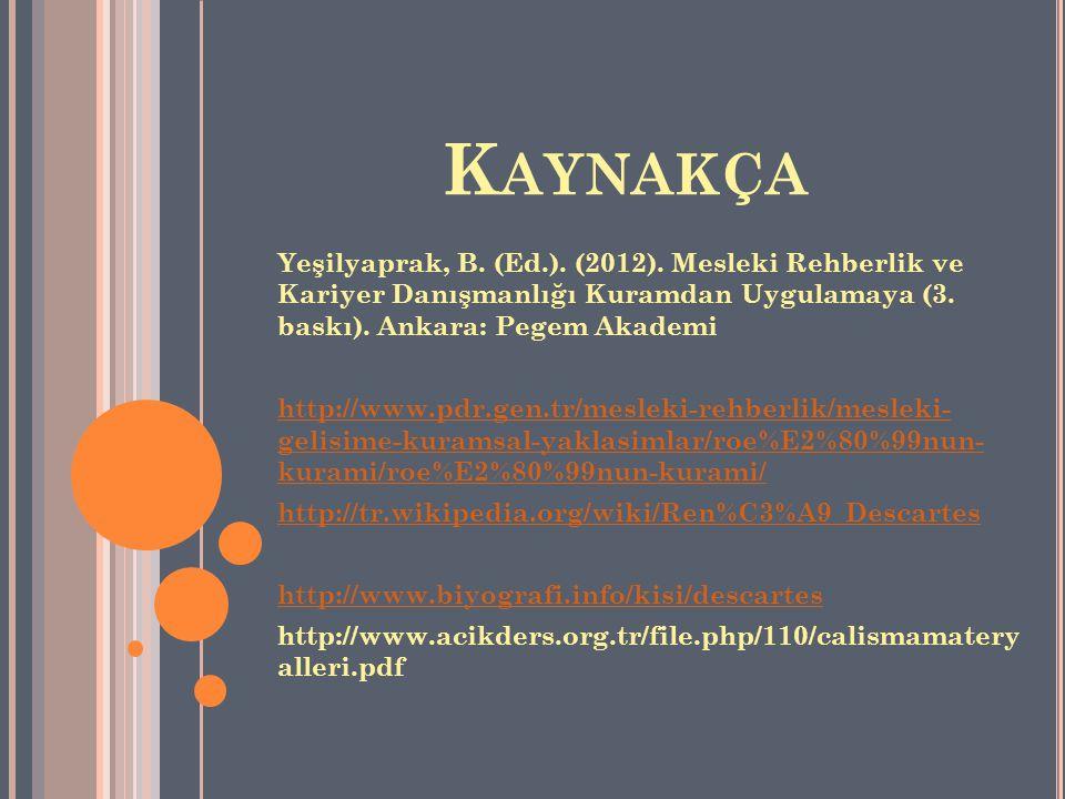 K AYNAKÇA Yeşilyaprak, B. (Ed.). (2012). Mesleki Rehberlik ve Kariyer Danışmanlığı Kuramdan Uygulamaya (3. baskı). Ankara: Pegem Akademi http://www.pd