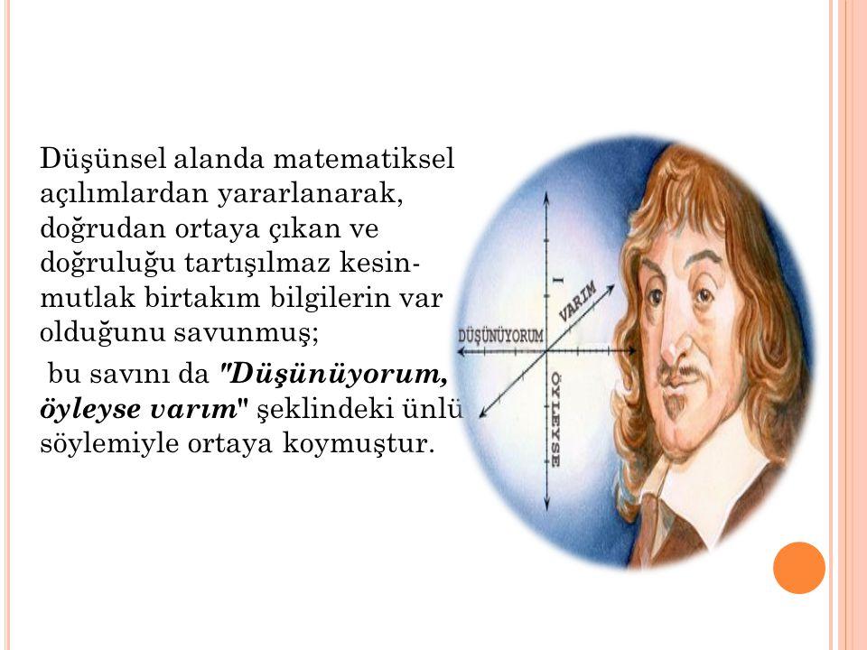 Düşünsel alanda matematiksel açılımlardan yararlanarak, doğrudan ortaya çıkan ve doğruluğu tartışılmaz kesin- mutlak birtakım bilgilerin var olduğunu