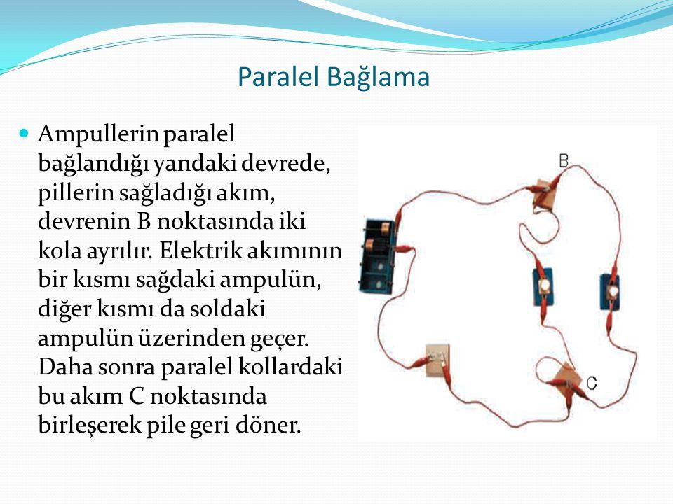 Paralel Bağlama Ampullerin paralel bağlandığı yandaki devrede, pillerin sağladığı akım, devrenin B noktasında iki kola ayrılır. Elektrik akımının bir
