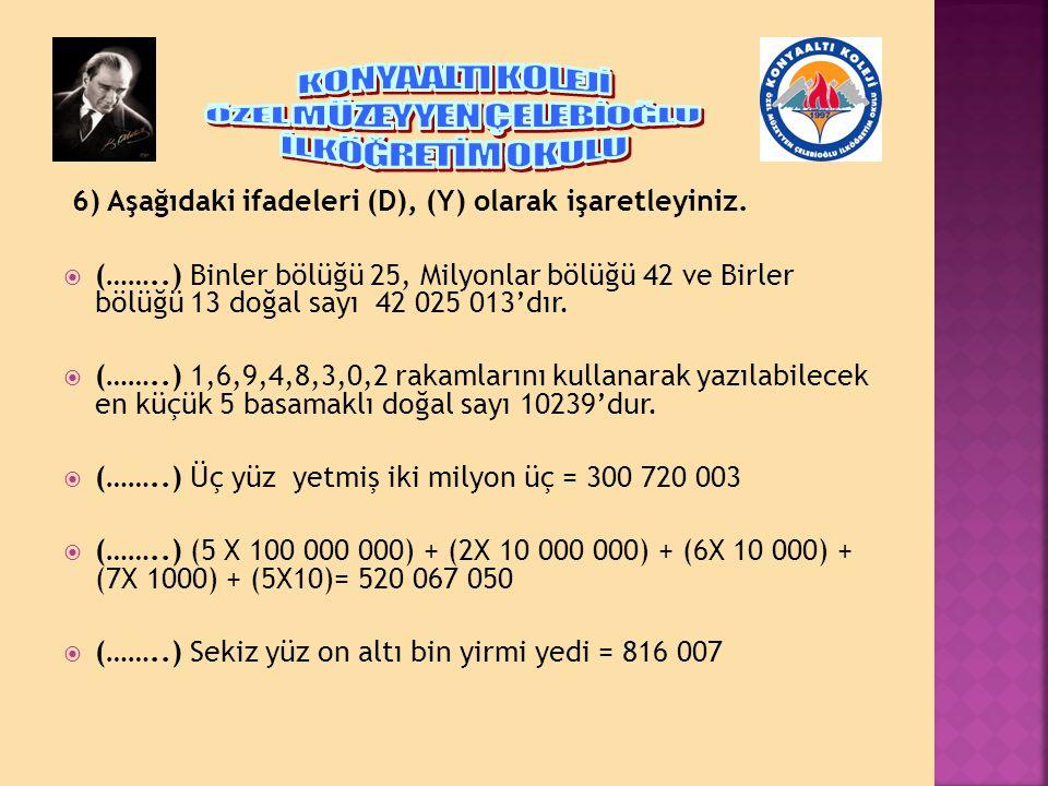 6) Aşağıdaki ifadeleri (D), (Y) olarak işaretleyiniz.  (……..) Binler bölüğü 25, Milyonlar bölüğü 42 ve Birler bölüğü 13 doğal sayı 42 025 013'dır. 
