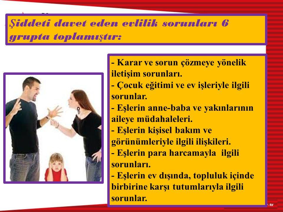 - Karar ve sorun çözmeye yönelik iletişim sorunları. - Çocuk eğitimi ve ev işleriyle ilgili sorunlar. - Eşlerin anne-baba ve yakınlarının aileye müdah