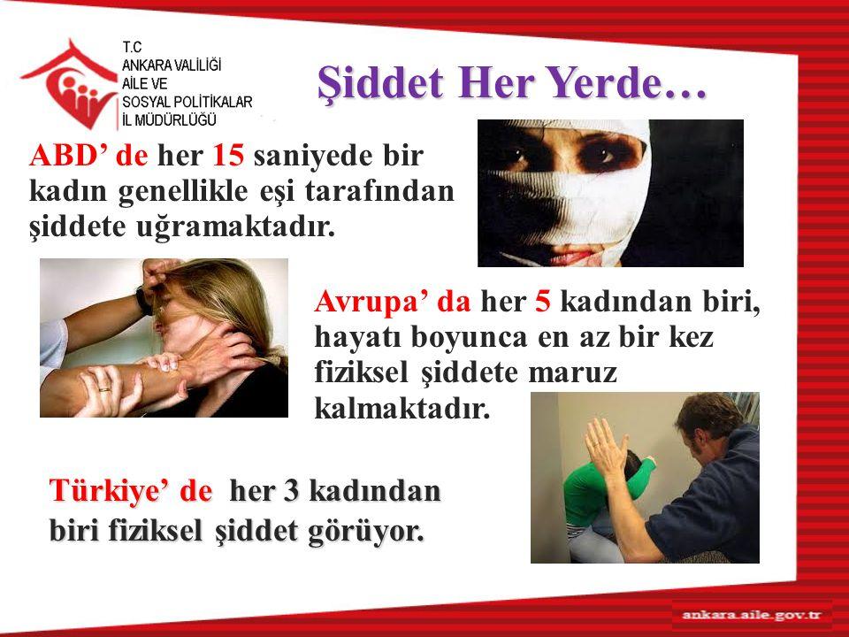 Şiddet Her Yerde… Avrupa' da her 5 kadından biri, hayatı boyunca en az bir kez fiziksel şiddete maruz kalmaktadır. Türkiye' de her 3 kadından biri fiz