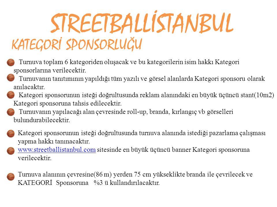 STREETBALLİSTANBUL KATEGORİ SPONSORLUĞU Turnuva toplam 6 kategoriden oluşacak ve bu kategorilerin isim hakkı Kategori sponsorlarına verilecektir. Turn