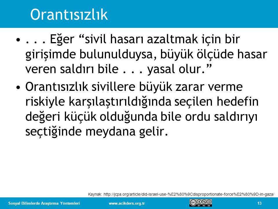 13Sosyal Bilimlerde Araştırma Yöntemleriwww.acikders.org.tr Orantısızlık...