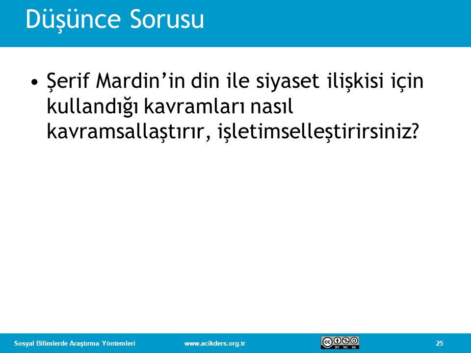 25Sosyal Bilimlerde Araştırma Yöntemleriwww.acikders.org.tr Düşünce Sorusu Şerif Mardin'in din ile siyaset ilişkisi için kullandığı kavramları nasıl kavramsallaştırır, işletimselleştirirsiniz