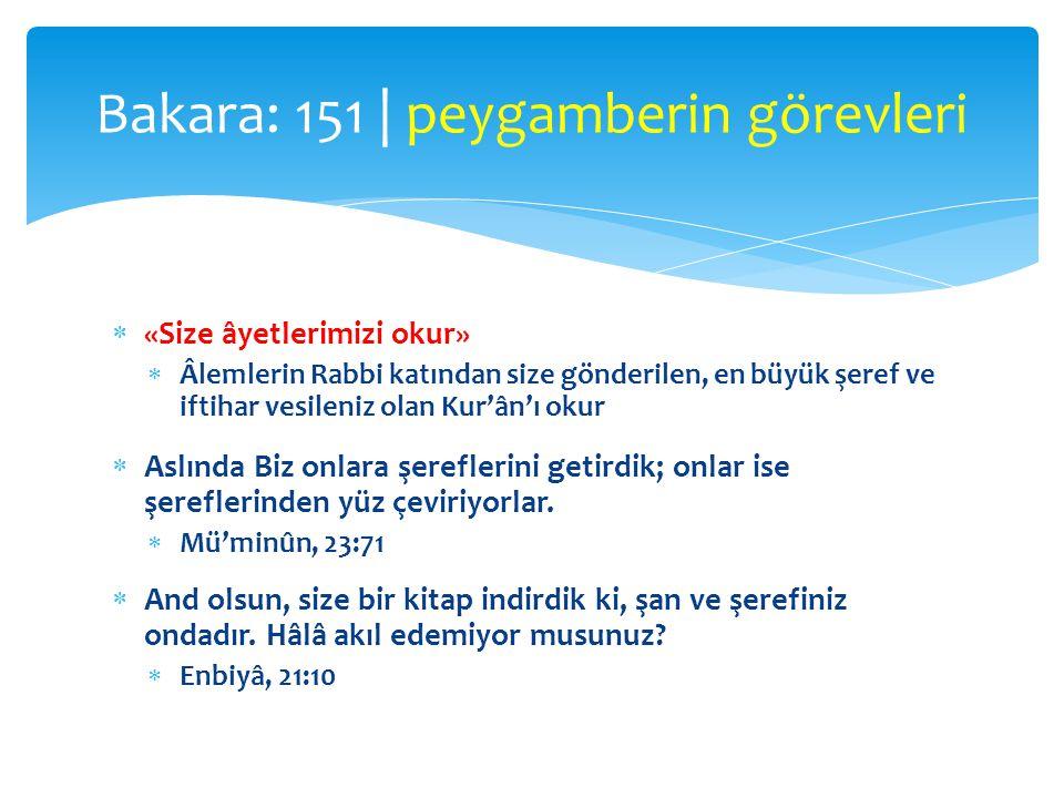  «Size âyetlerimizi okur»  Âlemlerin Rabbi katından size gönderilen, en büyük şeref ve iftihar vesileniz olan Kur'ân'ı okur  Aslında Biz onlara şer