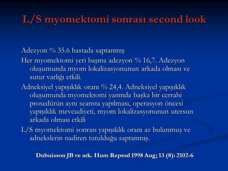 L/S myomektomi sonrası second look Adezyon % 35.6 hastada saptanmış Her myomektomi yeri başına adezyon % 16,7. Adezyon oluşumunda myom lokalizasyonunu
