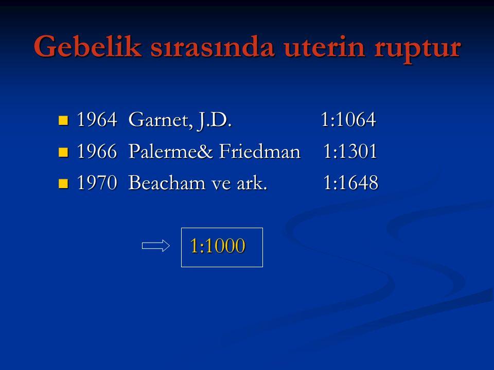 Gebelik sırasında uterin ruptur 1964 Garnet, J.D. 1:1064 1964 Garnet, J.D. 1:1064 1966 Palerme& Friedman 1:1301 1966 Palerme& Friedman 1:1301 1970 Bea
