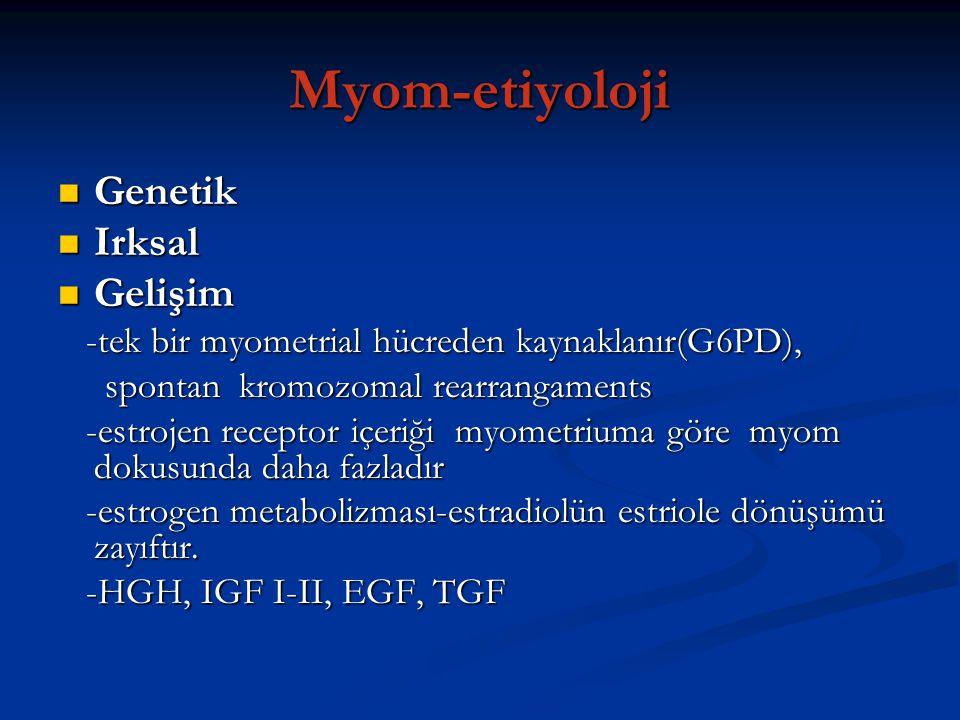 Myom-etiyoloji Genetik Genetik Irksal Irksal Gelişim Gelişim -tek bir myometrial hücreden kaynaklanır(G6PD), -tek bir myometrial hücreden kaynaklanır(