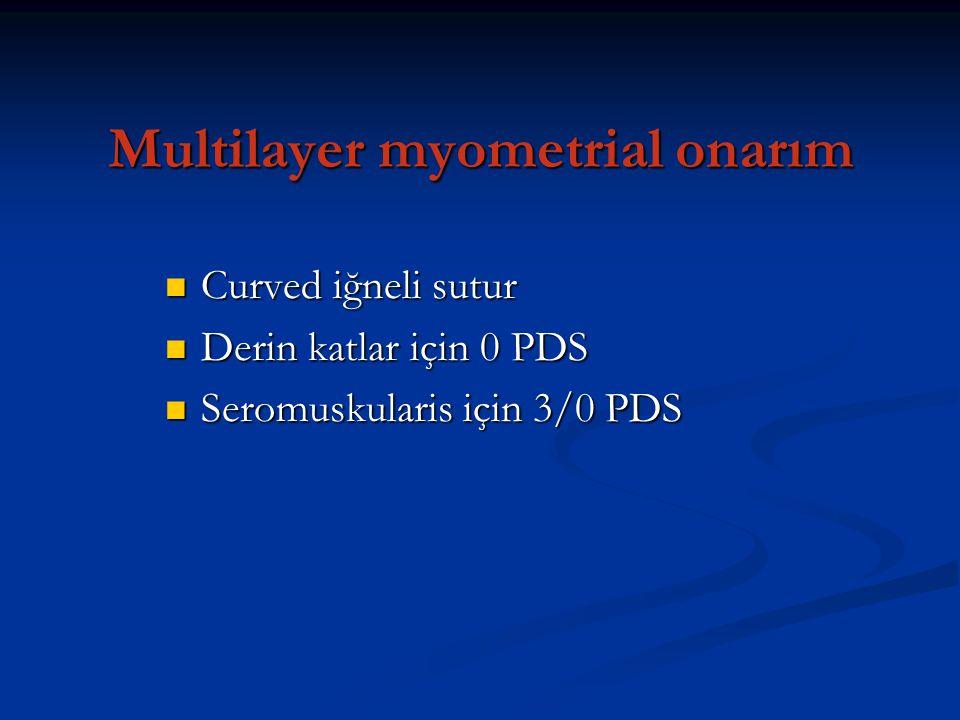 Multilayer myometrial onarım Curved iğneli sutur Curved iğneli sutur Derin katlar için 0 PDS Derin katlar için 0 PDS Seromuskularis için 3/0 PDS Serom