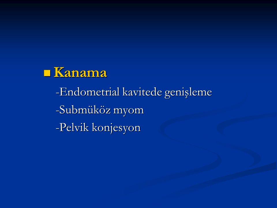 Kanama Kanama -Endometrial kavitede genişleme -Endometrial kavitede genişleme -Submüköz myom -Submüköz myom -Pelvik konjesyon -Pelvik konjesyon
