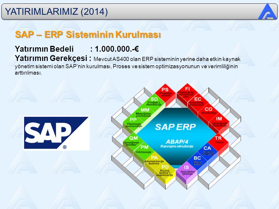 YATIRIMLARIMIZ (2014) SAP – ERP Sisteminin Kurulması Yatırımın Bedeli : 1.000.000.-€ Yatırımın Gerekçesi : Mevcut AS400 olan ERP sisteminin yerine daha etkin kaynak yönetim sistemi olan SAP'nin kurulması, Proses ve sistem optimizasyonunun ve verimliliğinin arttırılması.