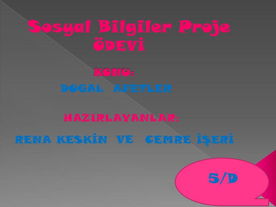 Sosyal Bilgiler Proje DOGAL AFETLER ÖDEVİ RENA KESKİNCEMRE İŞERİ VE 5/D